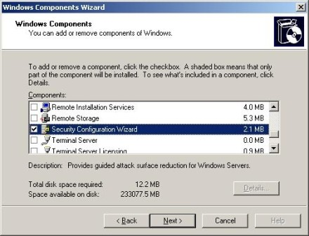 Add the Security Configuration Wizard component