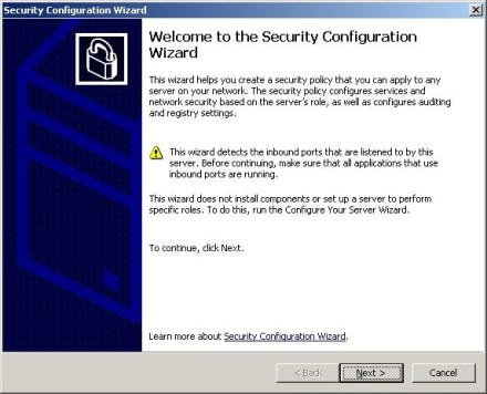 Exchange 2007 Security Configuration Wizard welcome screen