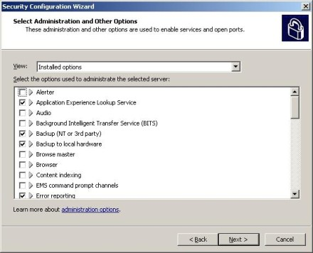 Exchange 2007 Security Configuration Wizard administration options