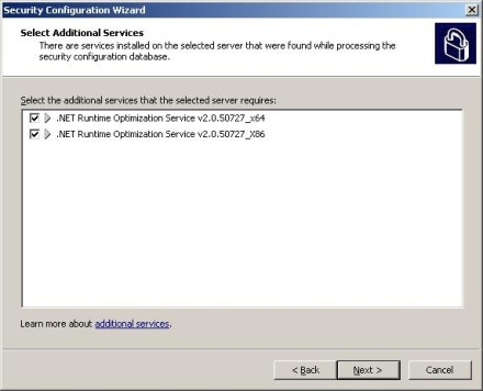 Exchange 2007 Security Configuration Wizard additional services
