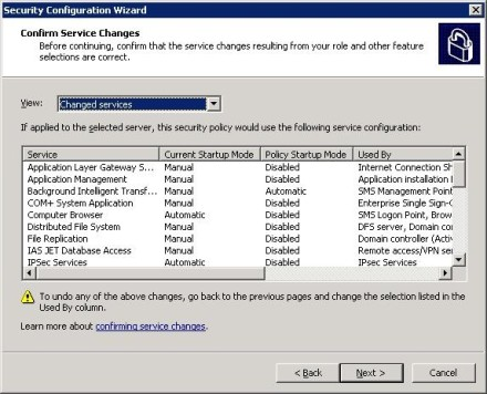 Confirm Exchange 2007 Security Configuration Wizard service changes