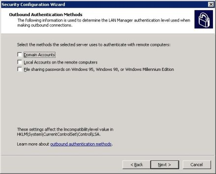 Exchange 2007 Security Configuration Wizard outbound authentication methods