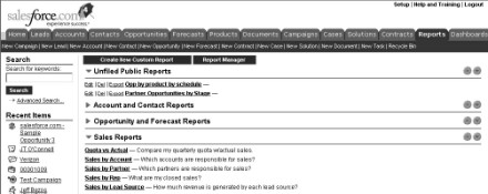 Figure 15-1: Looking over the standard folders and reports.