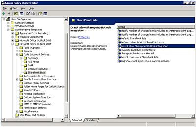 Control SharePoint synchronization at the group policy level