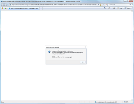 SharePoint document access warning in Outlook Web Access