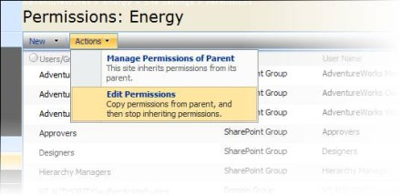 Edit Permissions menu, SharePoint