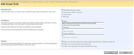 add a SharePoint 2007 scope rule to a new custom global search scope