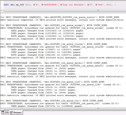 SQL Server 2000 Query Analyzer shows the sp_SOS snippet and detailed result of
