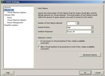 VMware High Availability installation: ESX 3.5 Settings screenshot