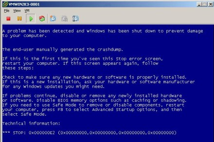 VMware High Availability installation: Simulated blue screen of death screenshot