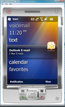 Windows Mobile 6.5 shows new messages