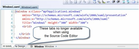 XAML designer tabs