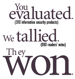 You evaluated. (310 information security products)  We tallied. (890 readers' votes)   They won.