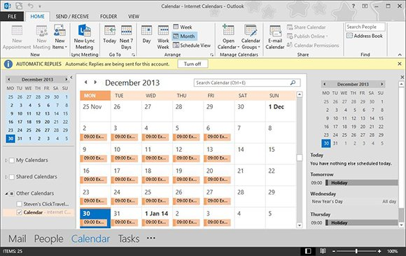Updating Outlook calendars
