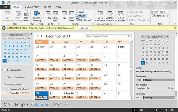 Updating Outlook calendars