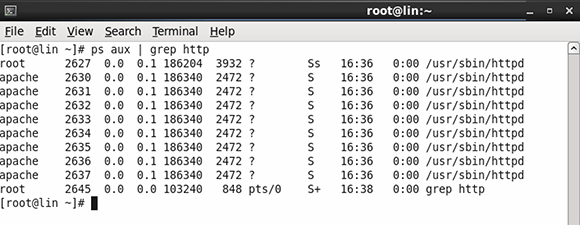 Grep utility filters Linux process results.