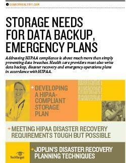 Storage needs for data backup in health care