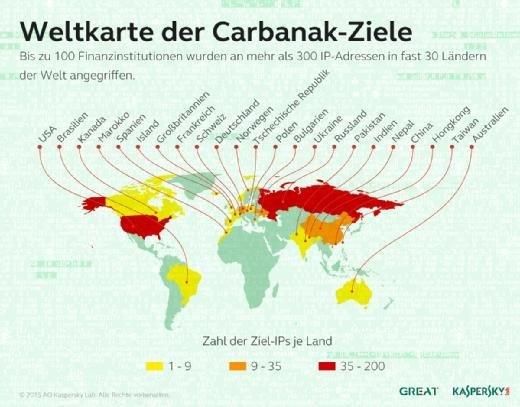 Weltkarte der Carbanak-Ziele.