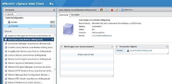 Der Auto-Deploy-Dienst im vSphere Web Client.