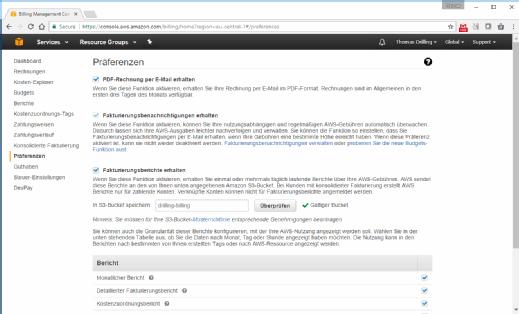 Fakturierungsbenachrichtigungen in AWS aktivieren.