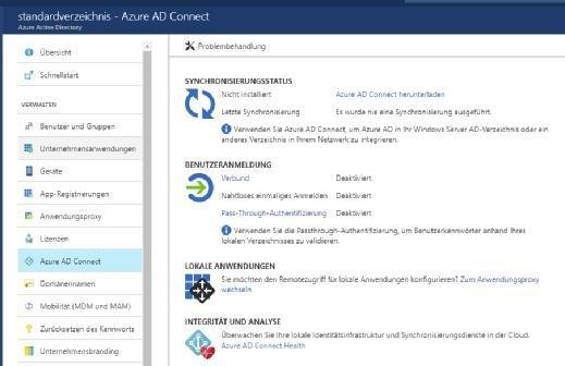 Lokale AD-Umgebungen lassen sich mit Azure Active Directory synchronisieren.