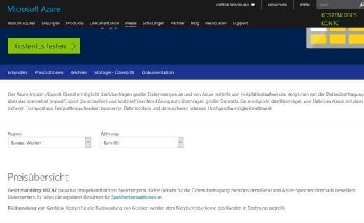 Mit Hilfe des Azure-Import-/Export-Dienst können Unternehmen große Datenmengen per Festplatten in die Cloud übertragen.
