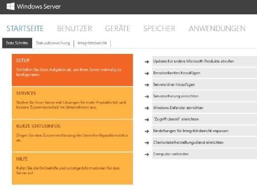 Die Verwaltung von Windows Server 2016 Essentials erfolgt über das Dashboard.