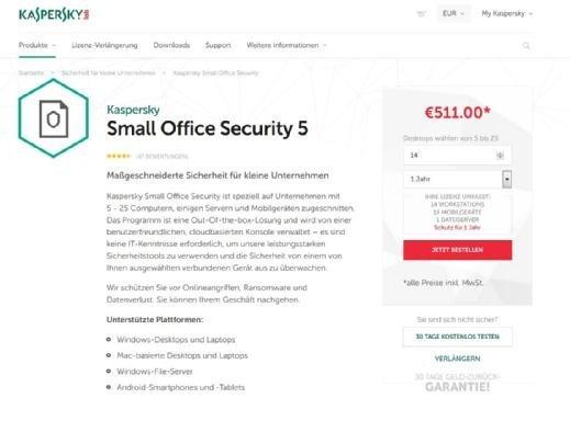 Für kleinere Unternehmen werden meist spezielle Pakete angeboten. Bei Kaspersky gehören beispielsweise PCs und Mobilgeräte zu dem Lizenzpaket.