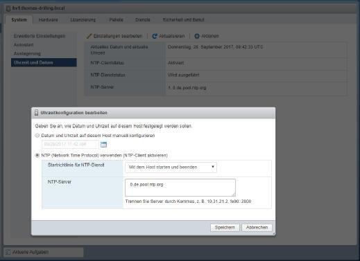 Zeitkonfiguration im Host-Client.
