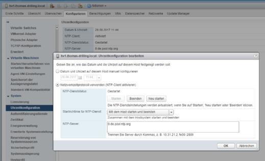 Zeitkonfiguration im Web Client.