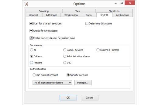 Bei der Suche nach Freigaben bietet der Network Scanner eine Reihe von Optionen.