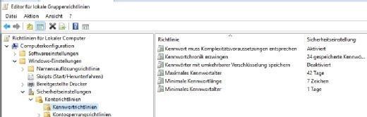 Kennwörter lassen sich unter Windows Server 2016 über Gruppenrichtlinien steuern.