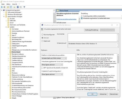 In Windows 10 Enterprise wird Device Guard über Gruppenrichtlinien gesteuert.