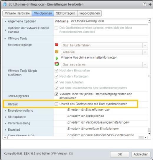 Zeitsynchronisation über die VMware Tools.