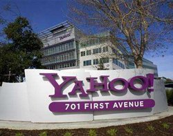 Yahoo shares up despite fall in profits