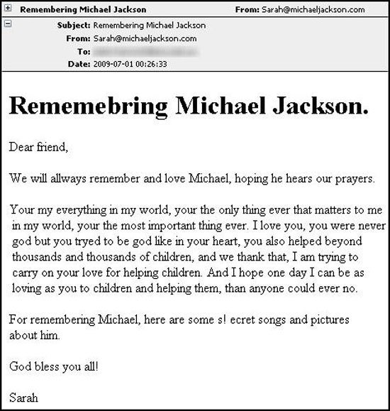 Michael Jackson spam e-mail containing virus