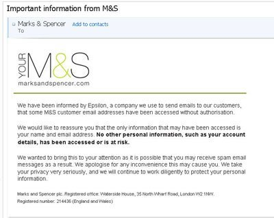 Epsilon breach - M&S email