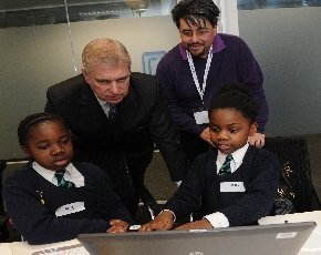 Duke of York learns to code with London school children