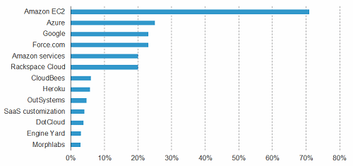 Forrester survey results - Amazon most popular cloud environment