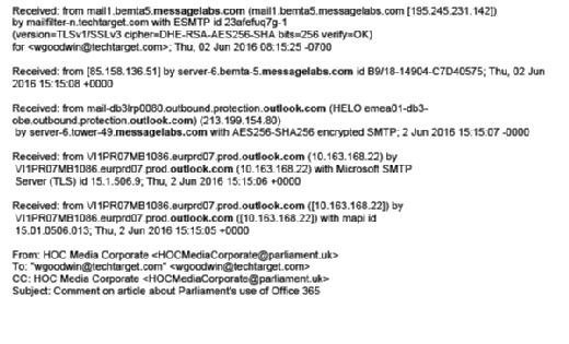 Header data from a parliamentary email, through MessageLabs and Microsoft Outlook.com mail servers