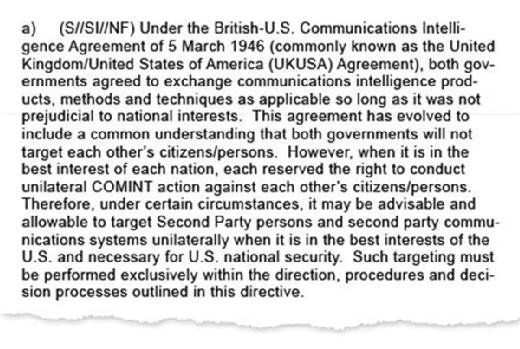Extract from leaked NSA Directive authorising targeting the UK