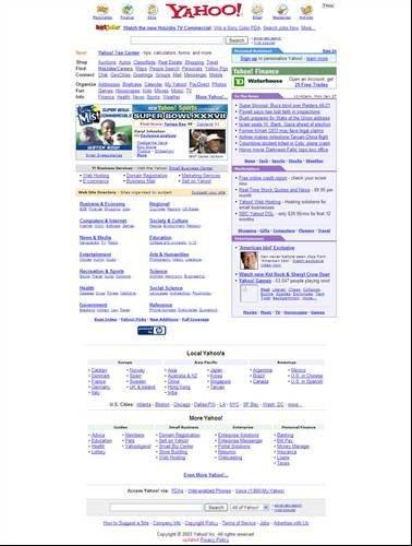 Yahoo homepage - 2003