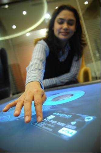 Barclays hi-tech branch in Piccadilly: Touch-screen banking