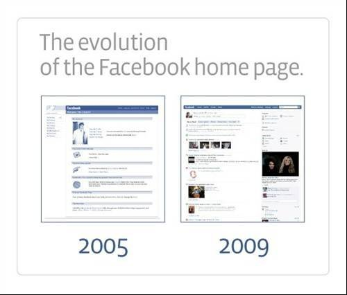 Facebook home page 2005 and 2009