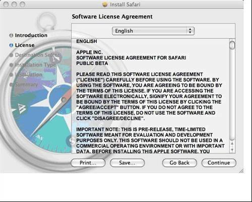 3. Safari 4 - Software license agreement