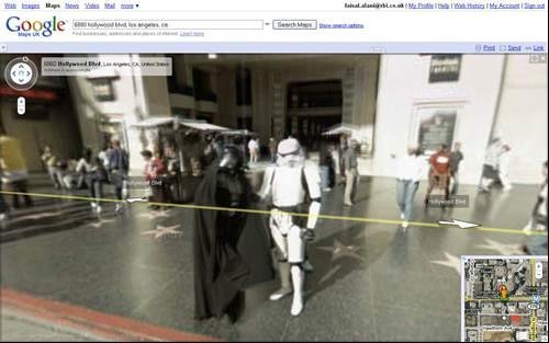 Darth Vader and Stormtrooper - Google Street View celebrities