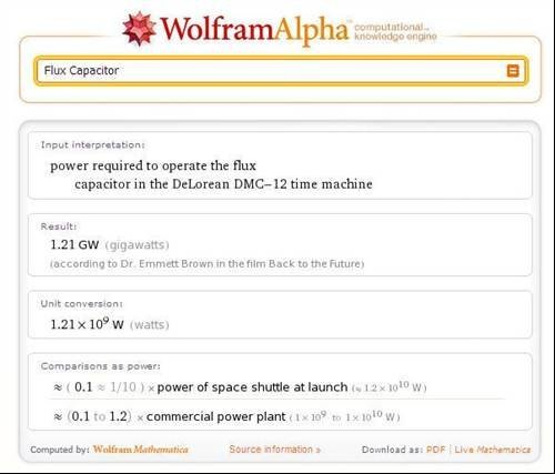 What is the Flux Capacitor? - Wolfram Alpha hidden messages