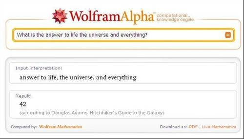 What is the answer to life, the universe and everything? - Wolfram Alpha hidden messages