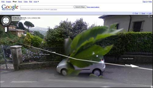Giant leaf attacks car - Tragic pictures on Google Street View