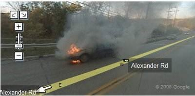 Car on fire - Tragic pictures on Google Street View